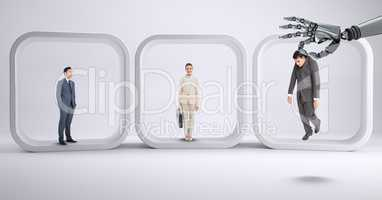 Robot hand choosing a business man on withe background with business people
