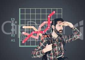 Traveler adventurer man with colorful grid chart statistics