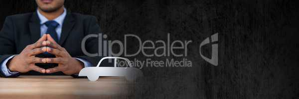 Paper Cut Out car and businesswoman