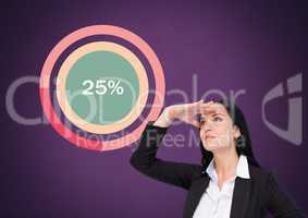 Businesswoman looking with colorful chart statistics at 25 percent