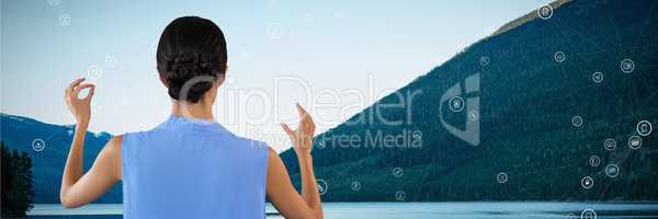Woman touching nature interface