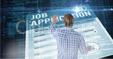 Man touching digital job application