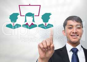 Businessman touching business people screen icons