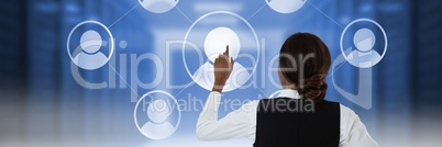 Woman touching user icon interface