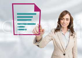 Businesswoman touching word document icon