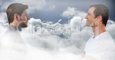 Men looking at each other through clouds