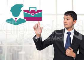Man interacting with businessman an briefcase icon