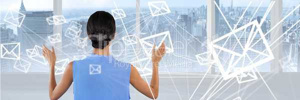 Woman touching interface with mail overlay