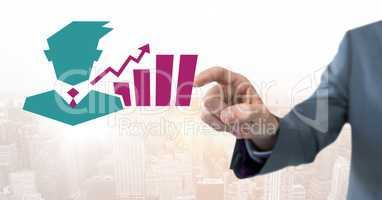 Hand pointing with businessman chart statistic icon