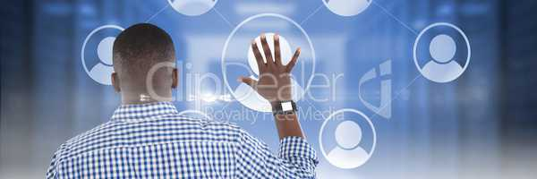Young man touching user icon interface