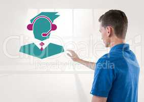 Man interacting with customer service icon