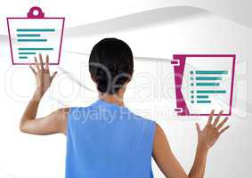 Woman interacting with document files icons