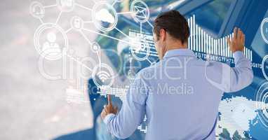 Man touching user icon interface