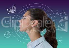 Woman with gradient background and interface doodle overlay