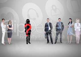 Question mark on silhouette with business people