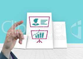Hand pointing with Business Charts on white boards