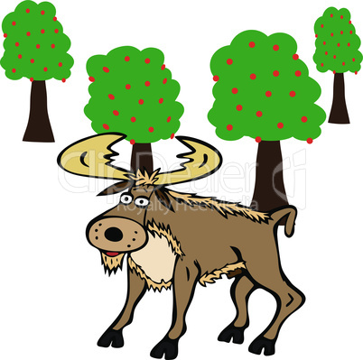 cartoon brown wild boar with yellow bang in the middle of green trees