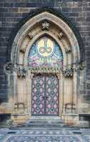 Decorated church entrance in Prague Vysehrad