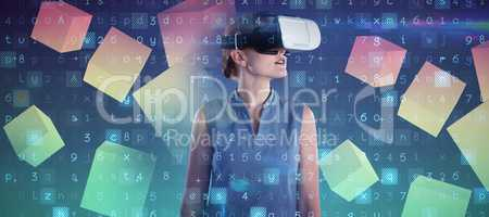 Composite image of young businesswoman wearing virtual reality glasses