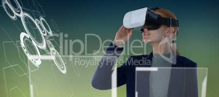 Composite image of young businesswoman wearing vr glasses