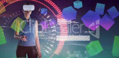 Composite image of businesswoman gesturing while wearing virtual reality glasses