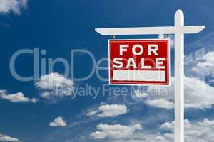 Left Facing For Sale Real Estate Sign Over Blue Sky and Clouds W