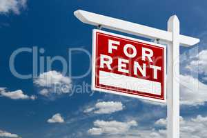 Left Facing For Rent Real Estate Sign Over Blue Sky and Clouds W
