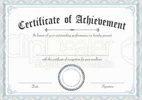Classic and retro certificate of achievement paper template