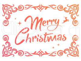 Gradient Merry Christmas word with ornamental graphic border