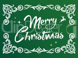 Gradient green Merry Christmas word with ornamental graphic bord