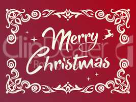 Gradient red Merry Christmas word with ornamental graphic border