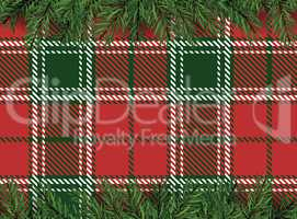 Red, green checkered pattern background with Christmas tree deco