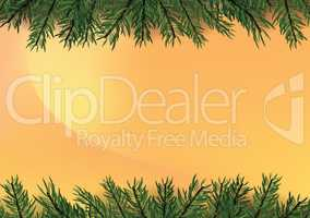 Gradient trendy golden background with Christmas tree decoration