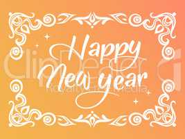 Gradient Happy New Year word with ornamental graphic border