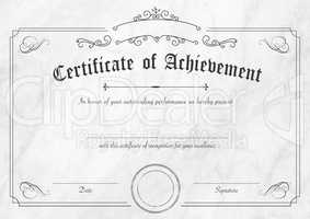 Retro certificate of achievement paper template with modern whit