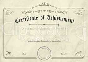 Retro certificate of achievement paper template with modern past