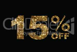 Luxury golden glitter fifteen percent off special discount word