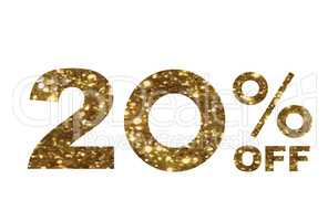 Luxury golden glitter twenty percent off special discount word t