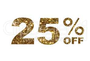 Luxury golden glitter twenty-five percent off special discount w