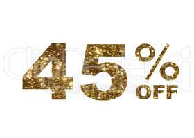 Luxury golden glitter forty five percent special discount word t