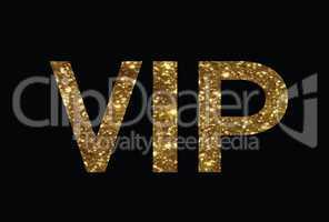 Luxury golden glitter of isolated hand writing word VIP