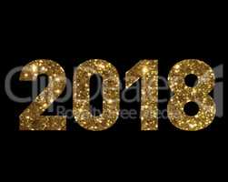 Golden glitter isolated standard font word year 2018
