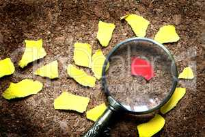 Magnifying Glass And Paper Scraps
