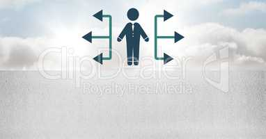 businessman icons with direction arrows