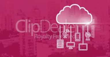 cloud icon and hanging connection devices and magenta background