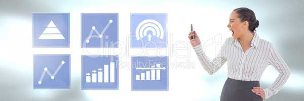 Businesswoman on phone and business chart statistic icons