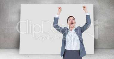 Winning celebration of businesswoman in front of blank board