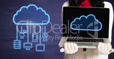 Hands holding laptop with cloud icon and hanging connection devices