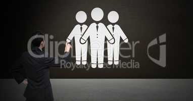 Business people group icon and businessman pointing