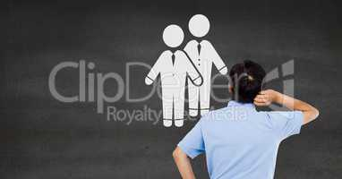 Businessman looking at couple partners of people icon
